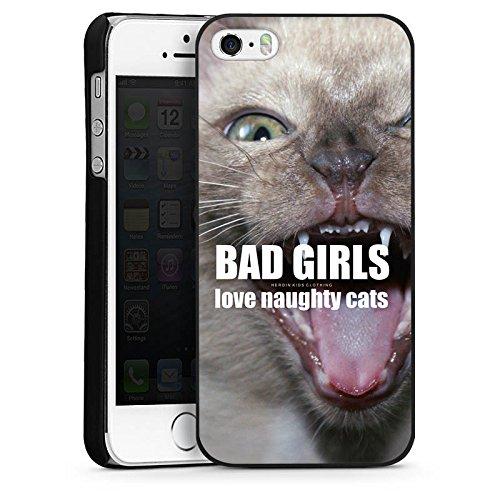 Apple iPhone 5 Housse étui coque protection Chat Chat Fille CasDur noir