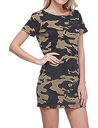 GAMISS Mujer Camisa Camuflaje Camiseta Blusa Mangas Corta Mini Vestido S-2XL