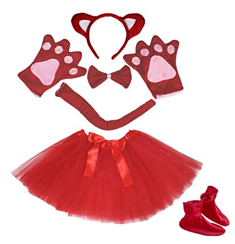 Headband Bowtie Tail Glove Shoes Tutu 6pc Costume for Girl (One Size) ()