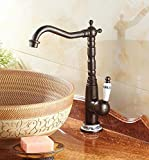 Accesorios de baño Chongxlgy-1 Cobre único agujero europeo de una manija de agua fría y caliente cascada grifo sentado válvula de cerámica núcleo cocina baño grifo del lavabo baño grifo del lavabo Grifos de lavabo