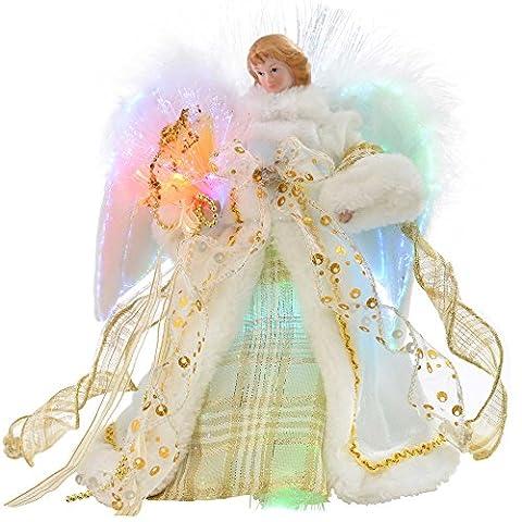 WeRChristmas 30cm Glasfaser Weihnachtsbaum Top Topper Engel mit Feder Flügeln, creme/gold