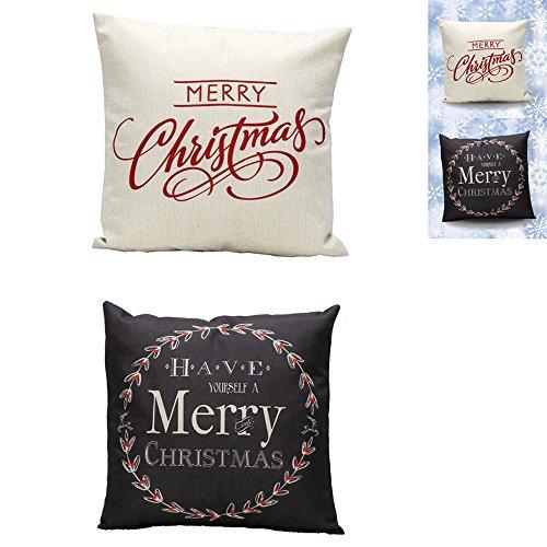Taie d'oreiller en lin de Noël,Bellelove 2 pcs noël coton et lin carré jeter lin taie d'oreiller oreillers décoratifs vente chaude nouveau style taie d'oreiller 45 cm * 45 cm