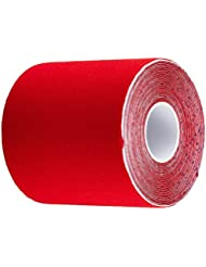 """#DoYourFitness 1x PREMIUM Kinesiology Tape, High-Quality tape, 100% woven cotton, waterproof, elastic, extra sticky and TOP-Stretching-Features. Top rated for sports, physiotherapy, medicine and everyday life. TÜV-certified, premium brand quality! Roll length 16,4 ft. (5m), width 2"""" (5cm), colour: red"""