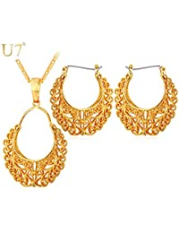 New Trends U7 Brand Vintage Hoop Earrings And Pendant Necklace Set Wholesale Round Hollow Dubai Gold Color Jewelry...