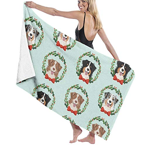 Kaixin J Australian Shepherds Mixed Coats Christmas Wreath Dog Breed Blue Beach Towels for Women Large Microfibre Beach Blanket Towel for Kids 32 X 52 Inch -