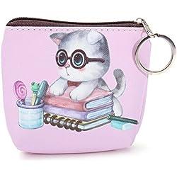jellbaby 1pcs cara de gato funda con cremallera Mini bolsillo monedero cartoon clave cartera bolso de la bolsa 8x 8x 3cm