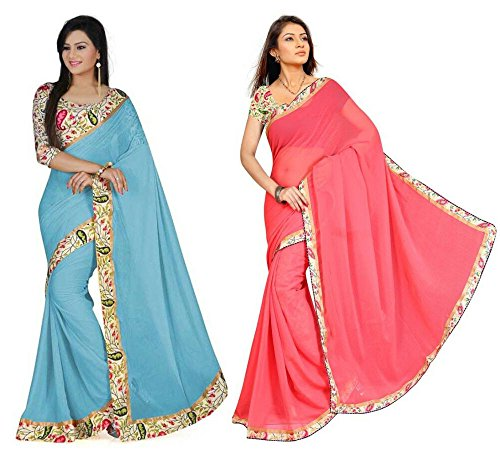 Aashi Saree Exclusive Combo Of Plain Chiffon Lacy Border Sarees (Peach And Light Blue)