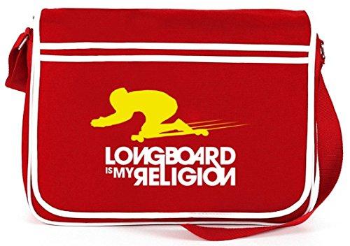 Longboard È La Mia Religione, Borsa A Tracolla Retro Messenger Skateboard Borsa A Tracolla Rossa