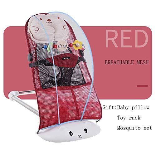 BIGLOVE Babywippe Baumwolle Gitter + Dicker Edelstahlsockel Balance Soft verstellbare Rückenlehne für Babys von 0-24 Monaten,Red