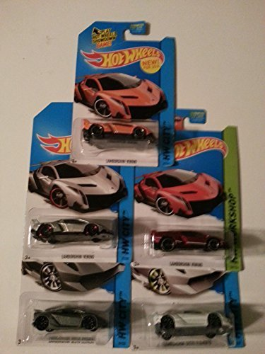Hot Wheels Lamborghini set of 5! Sesto Elemento in Grey and White, Veneno in Red, Orange and Silver! by Mattel
