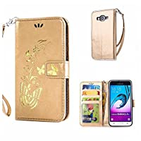 Galaxy J3 2016 Case + Free Tempered Glass Screen Protector, KKEIKOŽ Galaxy J3 2016 Wallet Case, Premium PU Leather Flip Cover with Card Slots, Cash Holder, Wrist Strap and Kickstand, Slim Fit Book Style Holster Case for Samsung Galaxy J3 2016 (Butterfly