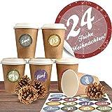 Adventskalender DIY Set mit 24 Coffee-to-Go-Bechern (100% biologisch abbaubar) zum befüllen und selber basteln inkl. 24 weihnachtlichen Aufklebern 'Moderne Adventszahlen'
