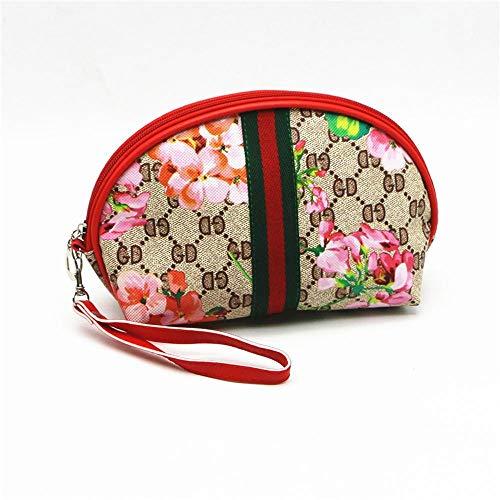 Tcaijing Kosmetiktasche,Reisen Sie Speicher Hand mit Halbkreis Shell Fan Kosmetiktasche PU-Leder 18,5 * 14,5 * 8 cm -