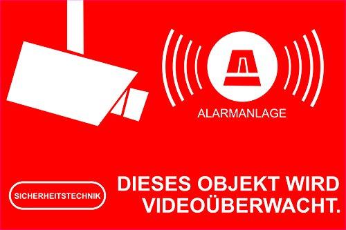 Preisvergleich Produktbild INDIGOS UG Aufkleber Alarmgesichert - Alarmanlage 1 Stück 52x35mm - Rechteckig - rot