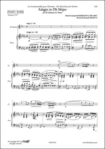 PARTITURA CLASICA - Adagio in Db Major - H. J. BAERMANN - Clarinet and Piano por BAERMANN Heinrich Joseph