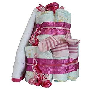 Pinke Windeltorte Geburtsgeschenk für Mädchen mit personalisiertes Lätzchen und farblich passende Socken, das perfekte Geburtsgeschenk