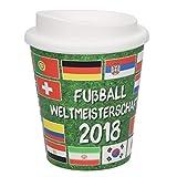 elasto Kaffeebecher To Go Nations Coffee To Go Kunststoffbecher Doppelwandig 0,25ml im Fußball-Design mit Deckel mit Schraubverschluss Wiederverwendbar Mehrwegbecher Auslaufsicher