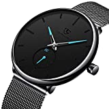 Watch Mens Black Casual Simple Minimalist Ultra Thin Fashion Business Dress Waterproof Quartz Watch with Stainless Steel Mesh Band