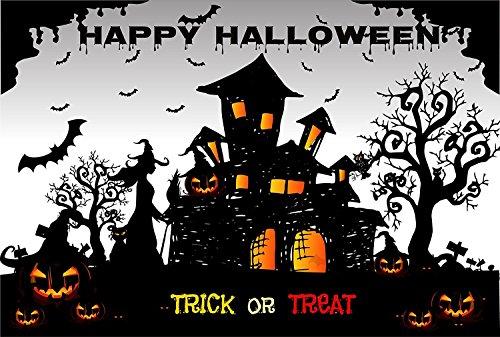 Kate 10x6.5ft Happy Halloween Fotografie Kulissen Black Castle Foto Hintergrund Kürbis Photo Booth Seamless (Kate Halloween Prinzessin)