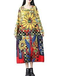 Kleider für Damen Langarm Kleid Maxikleider Blumenkleid Drucken Strandkleid  Vintage Abendkleid Rundhals Elegant… f6ef86ec7d