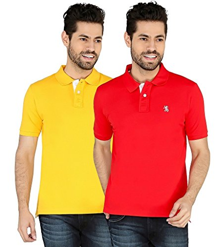 The Cotton Company Luxury Solid Polo Tshirt For Men (pack Of 2) - Red & Yellow