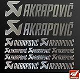 Brett 12Sticker Aufkleber Akrapovic Auspuff Anlage–Chrom–Sticker, selbstklebend, Motorrad, Bike, Kit, Deco, Tuning, Decal, gt-design, GT Design, gtdesign