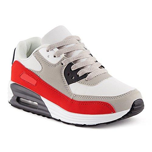 FiveSix Herren Damen Sportschuhe Dämpfung Sneaker Laufschuhe Rot/Grau/Weiss-W EU 39 (Grau Und Weiß Rot, Jordan)