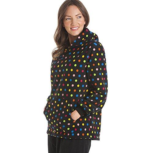 Pyjama à capuche - motif pois multicolores - polaire - noir Noir
