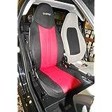 Set de fundas para asientos de automóvil, Uno para el asiento del conductor, uno para el asiento del acompañante, hechas de sintéticos (polyester), aptas para SMART FORTWO 1998-2007 (450), Rojo Negro