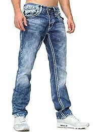 d7d3dd98d205 Amica Herren denim Kontrast Jeans Hose straight legs gerade Passform  vintage look Kontrastnähte 9574