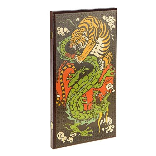 Backgammonspiel mittelgroß - Tiger und Drachen, 50х50 cm