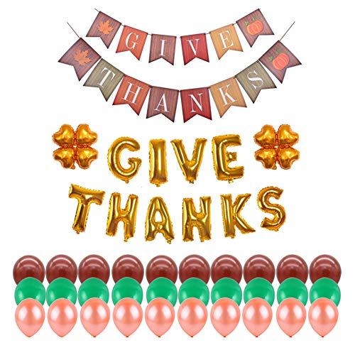AAGOOD Thanksgiving-Dekorationen Party Ballons System einschließlich Danksagungs-Karte Blattflagge danken gibt Fan von vierblättrigen Kleeblatt Latexballon Dekoration Ballon für Thanksgiving (