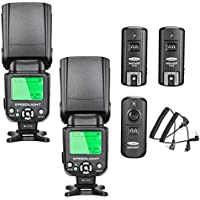 Neewer nw-562 E-TTL Flash Speedlite Kit para Canon cámara réflex digital, kit incluye: (2) nw-562 Flash + (1) 2.4GHz inalámbrico disparador (1 transmisor + 2 receptores)