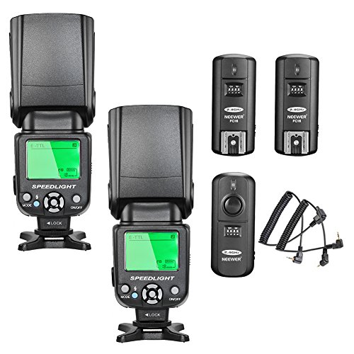 Neewer nw-562E-TTL Flash Speedlite Kit para Canon cámara réflex digital, kit incluye: (2) nw-562Flash + (1) 2.4GHz inalámbrico disparador (1transmisor + 2receptores) + (1) paño de limpieza de microfibra