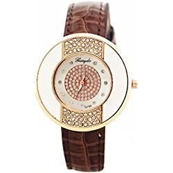 Rhinestone Wrist Watch - Gerryda Fashion Women Watch Leather Band Sport Analog Quartz Wrist Watch, Coffee
