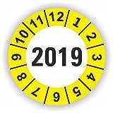5-1.000 Stück Prüfplaketten Prüfetiketten Wartungsetiketten Jahresplakette 2019 Ø 20mm (Gelb 500 Stück)