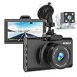 """WiMiUS Dashcam Dual Auto Kamera, Super Nachtsicht Vorne 1080P Hinten 720P Full HD Auto Kamera mit 3"""" IPS Bildschirm,170°Weitwinkelobjektiv, G-Sensor, WDR, Loop-Aufnahme, Parkmonitor (D20)"""