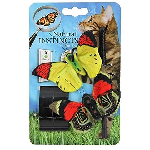 Natural Instincts-Jouet pour chat Pendentif porte avec papillons-3couleurs assorties