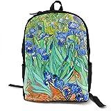 KLing Leggero Poliestere Daypack Van Gogh Iris Fiori Viaggio Escursionismo Daypack - Grande capacità Antifurto Borsa Multiuso Bagaglio per Ragazze Ragazzi