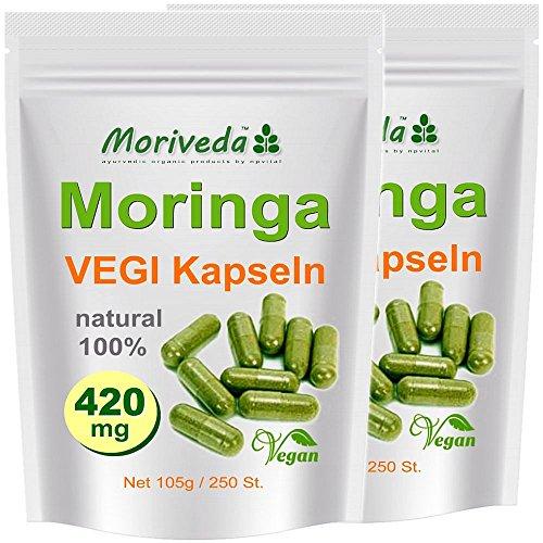 Gelatine 250 Kapseln (Moringa Kapseln 500 VEGI Oleifera 420mg - 100% Vegane Rohkost von MoriVeda (2x250))