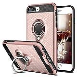 iPhone 8 Plus Hülle, Coolden® Premium Handyhülle mit Ring Fingerhalterung 360 Grad Drehbarer Ständer Anti-Scratch 3D Muster Dual Layer Bumper Stoßfest Schutzhülle für iPhone 8 Plus/7 Plus(Rosa)