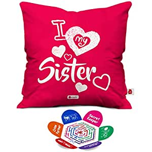 Buy Indigifts I Love My Sister Pink Micro Satin Fibre Cushion Cover