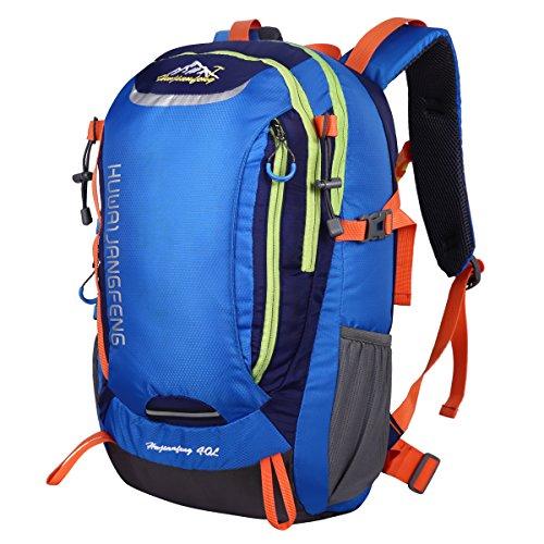 HWJIANFENG Zaino 40L Unisex Sportivo Viaggio Outdoor Trekking Bici Montagna Alpinismo Impermeabile Nero Zaino Porta PC Quotidiano Arancio blu