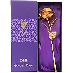 Valentine Gifts : YouBella Jewellery Valentine Special Gold Plated Rose Flower with Gift Box