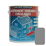 Peinture d'étanchéité imperméabilisante pour terrasse circulable, balcon, sols extérieurs, béton, plusieurs coloris 10 litres Gris