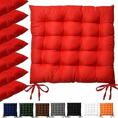 Beautissu® Lot de 6 galettes de chaise Lea - Confortable et coloré - Idéal pour intérieur et extérieur - 40x40x5 cm -