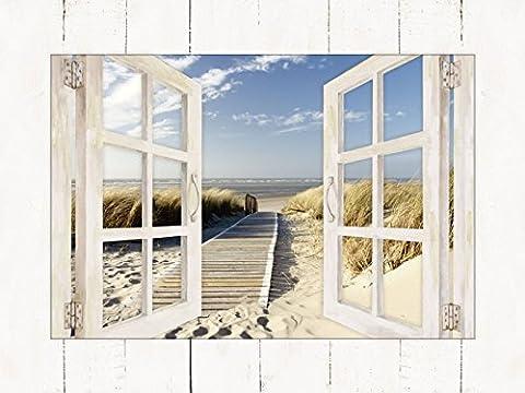 Artland Modell-Rahmen Wand-Bild gerahmt mit Motiv Eva Gruendemann Nordseestrand auf Langeoog - Steg Landschaften Strand Fotografie Creme 59,9 x 80,9 x 1,6 cm