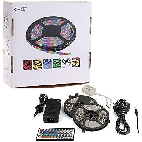 CroLED®Tira Luz RGB 600 LED 5050 SMD DC12V 10M 2x5M Flexible Mando 44 KEYs