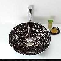 AIURLIFE Materiale lavello circolare è temperato GlassBathroom lavello / rubinetto del bagno / bagno montaggio anello / bagno