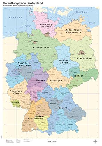 B1 Verwaltungskarte Deutschland - Bundesländer/Regierungsbezirke/Landkreise